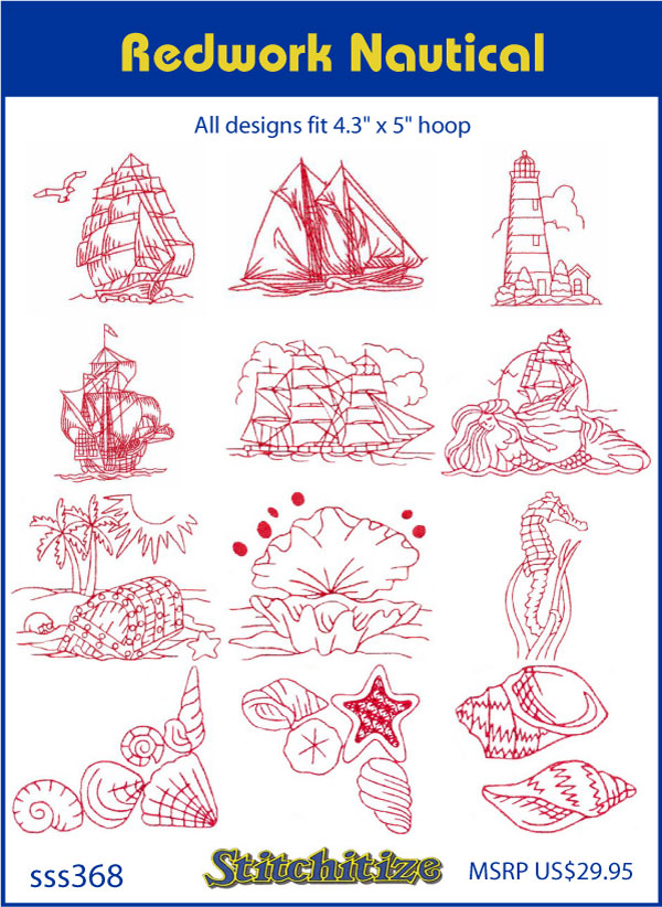 Redwork Nautical Custom Embroidery Designs By Stitchitize