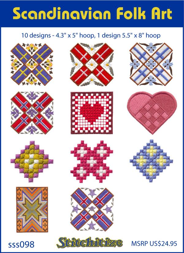 Scandinavian Folk Art Custom Embroidery Designs By Stitchitize