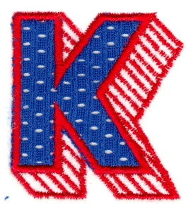 Applique Shadowed Letter K Custom Embroidery Designs By Stitchitize