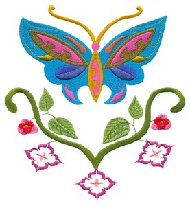 Butterflys and Flowers (Square Hoop)