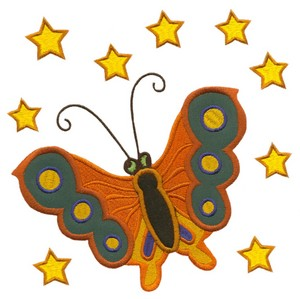 Butterfly Applique with Stars (Square Hoop)