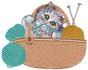 Knitting Basket Kitten