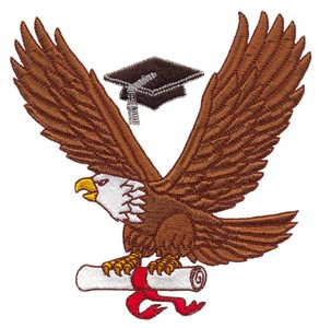 Large Eagle with Diploma (Square Hoop)