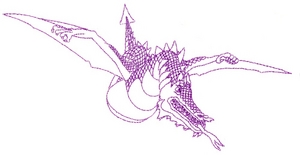 Flying Fire Breathing Dragon - outline