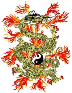 Yin Yang Fire Dragon (Large - MI Hoop)