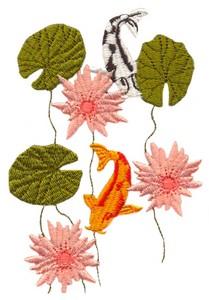 Koi and Lotus Flowers