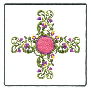 Large Circle Bouquet with Border (Square Hoop)