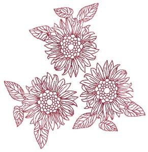 Three Sunflowers (Square Hoop)