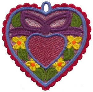 FSL - Heart and Bow Heart Ornament (freestanding)