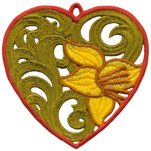 FSL - Lily Heart Ornament (freestanding)