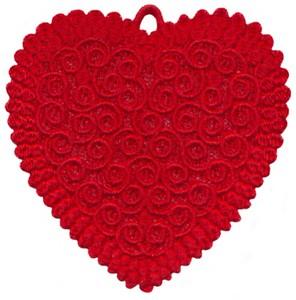 FSL - Curl Single Colour Heart Ornament (freestanding)