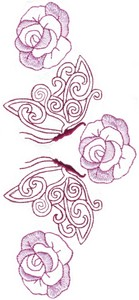 Butterfly Roses Vertical Border