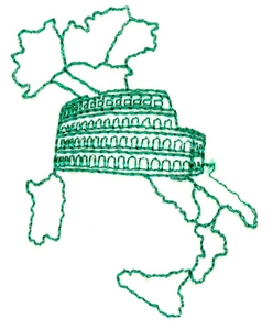 Italy Outline and colosseum