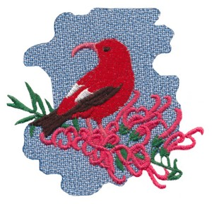 Iiwi Bird with Koli'i Plant (Hawaiian)