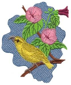 Maui Parrotbill and Hibiscus (Hawaiian)