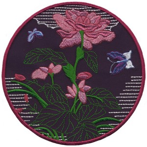 Peonies and Butterflies - Sashiko Picture