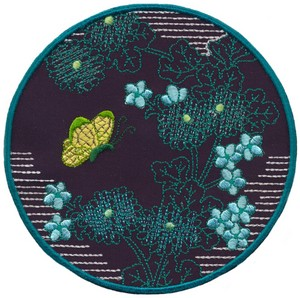 Chrysanthemums and Butterfly - Sashiko Picture