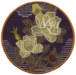 Roses and Ladybugs - Sashiko Picture