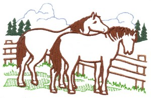 Fenced Horses (outline only)