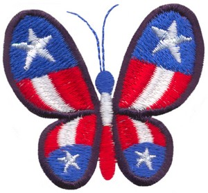Stars and Stripes Butterfly 2 (Micro-embroidery)