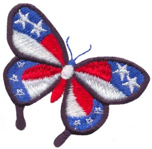 Stars and Stripes Butterfly (Micro-embroidery)