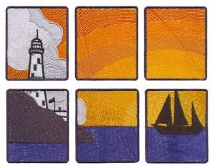 Large Sunset Window Scene (Square Hoop)