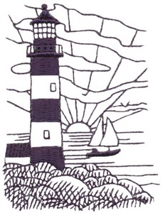 Sunrise Lighthouse (single colour)