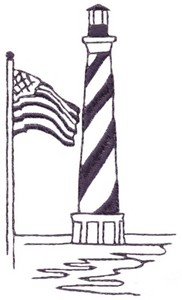 Cape Hatteras with USA Flag (single colour)