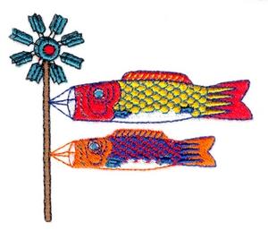 Fish Windsocks on Windmill