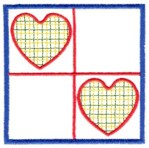 Two Hearts Quilt Square