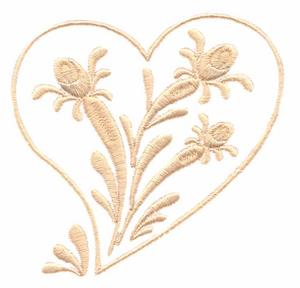 Rosebuds and Ribbons Heart (Whitework)