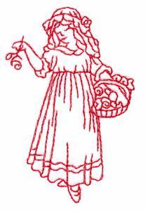 Girl with Rose Basket (Redwork)