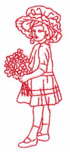 Girl with Small Bouquet (Redwork)
