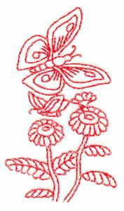 Butterflies and Blossoms # 2 (Redwork)