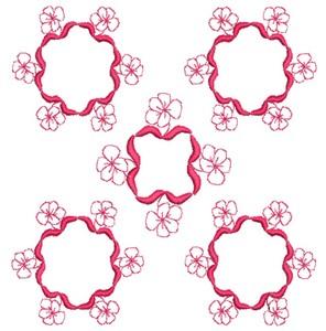 Flower Rings - Redwork (Square Hoop)