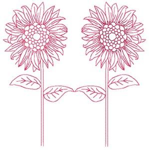 Sunflowers - Redwork (Square Hoop)