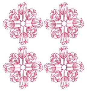 Tulip Rings - Redwork (Square Hoop)