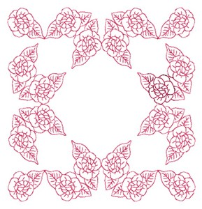 Rose Border - Redwork (Square Hoop)