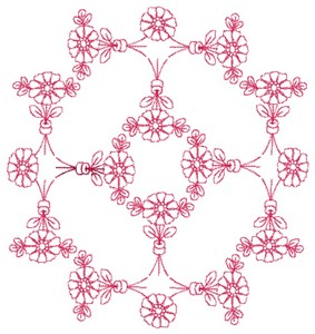 Daisy Rings - Redwork (Square Hoop)