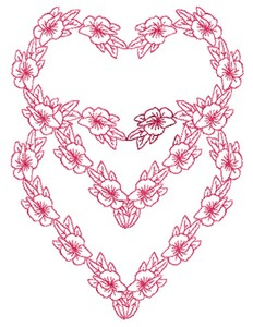 Double Heart Flowers - Redwork (Square Hoop)
