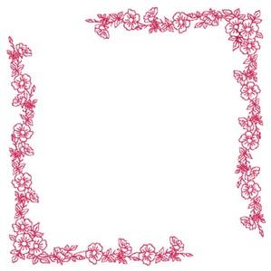 Blooming Border - Redwork (Square Hoop)