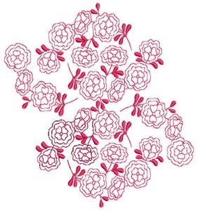 Floral Cluster - Redwork (Square Hoop)