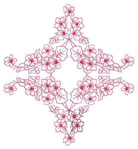 Floral Diamond - Redwork (Square Hoop)