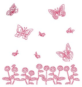 Butterflies and Blooms - Redwork (Square Hoop)