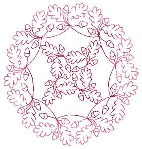 Oak Leaves - Redwork (Square Hoop)