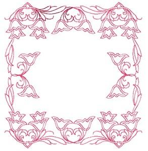 Tulip Square - Redwork (Square Hoop)