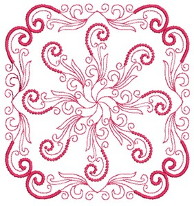 Dots and Swirls - Redwork (Square Hoop)