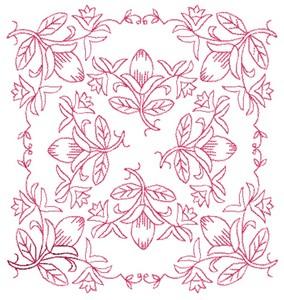 Floral Pattern - Redwork (Square Hoop)
