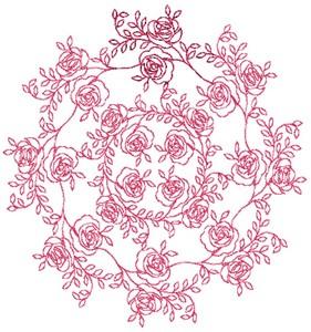Rose Rings - Redwork (Square Hoop)