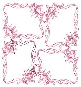 Four Square Flourish - Redwork (Square Hoop)